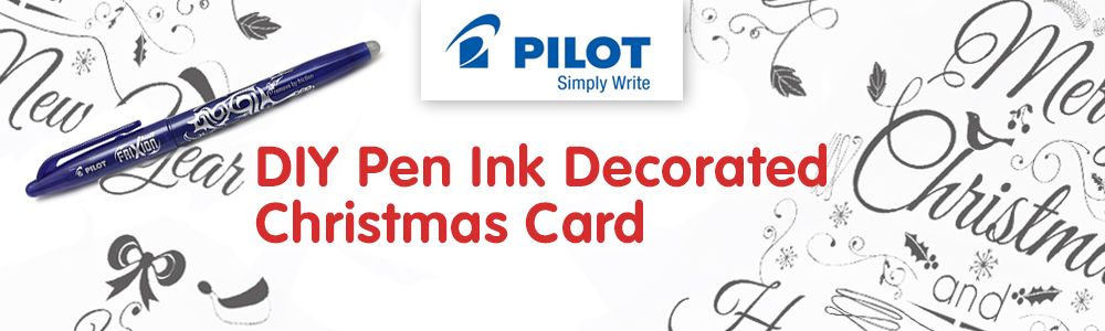 DIY Pen Ink Decorated Christmas Card